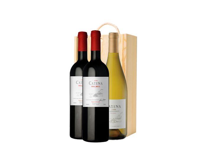 Argentina Catena Three Bottles In Wooden Gift Box