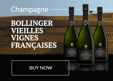 3 Bottles of bllinger champagne displayed in front of a scene of the Bollinger vineyard and a bright blue sky
