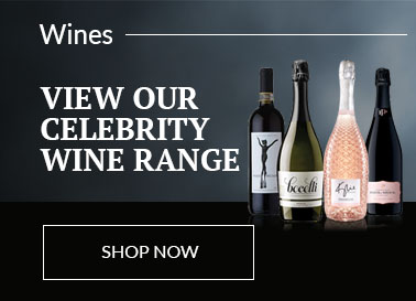 Range of celebrity Wines displayed in front of a wash painted background and sitting on a high gloss black base