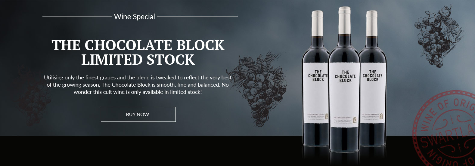 Black background with three bottles of The Chocolate Box wine