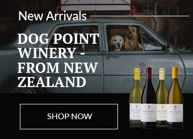 Selection of Dog Point wines displayed in front of a scene of a several dogs sitting inside a Dog point branded car, delivering a package of Dog Point wines, which are strapped to the roof of the car.