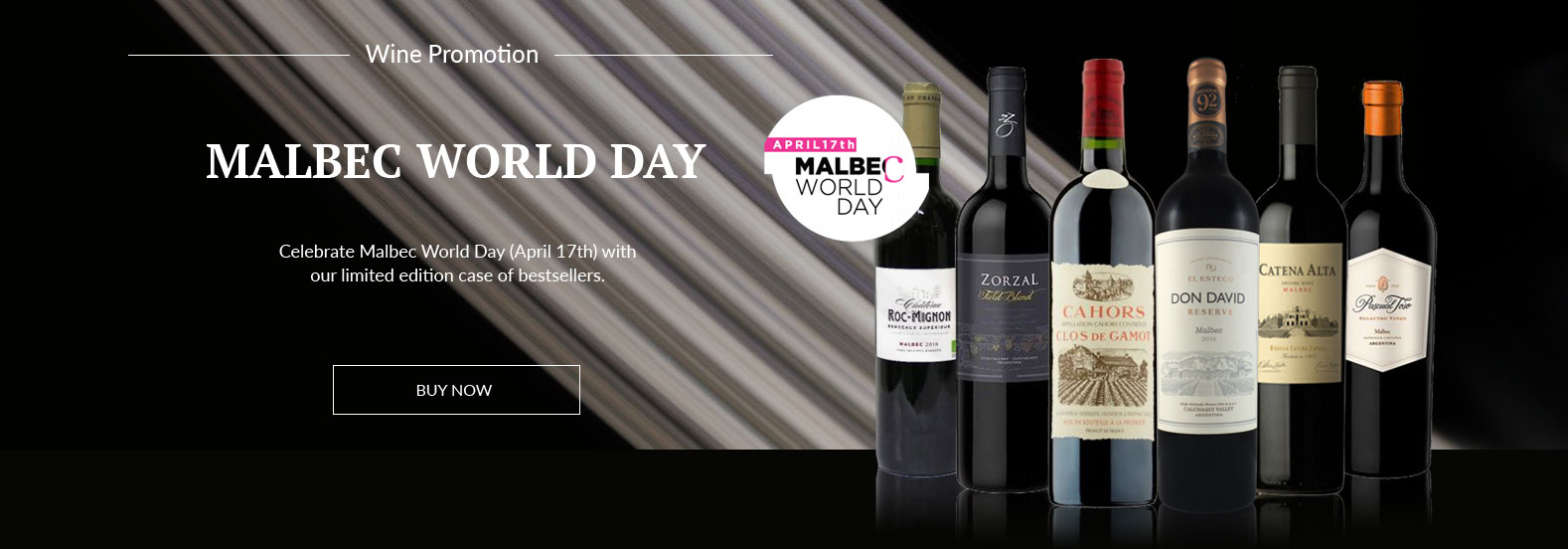 Selection of Malbec wines in front of a graphic white strip on a black background.