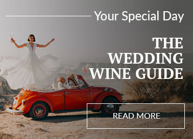 A bride standing on the back of a Volkswagen, driven by the groom, holding a glass of champagne. Behind is a scene from the American outback.